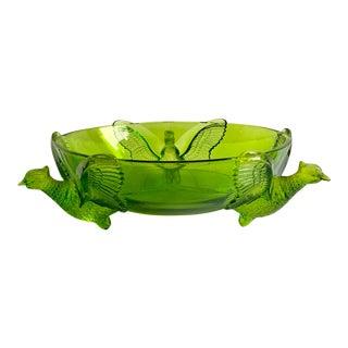 Green Glass Bird Bowl, Vintage Decor For Sale