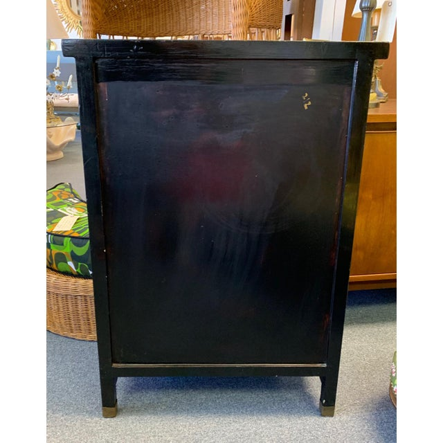 1950's Vintage Black Lacquer Chinoiserie Armoire For Sale In West Palm - Image 6 of 12
