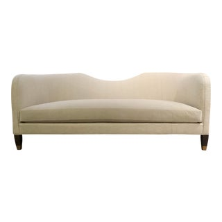 Pearson Co. Modern Beige Velvet and Linen Blend Sofa For Sale