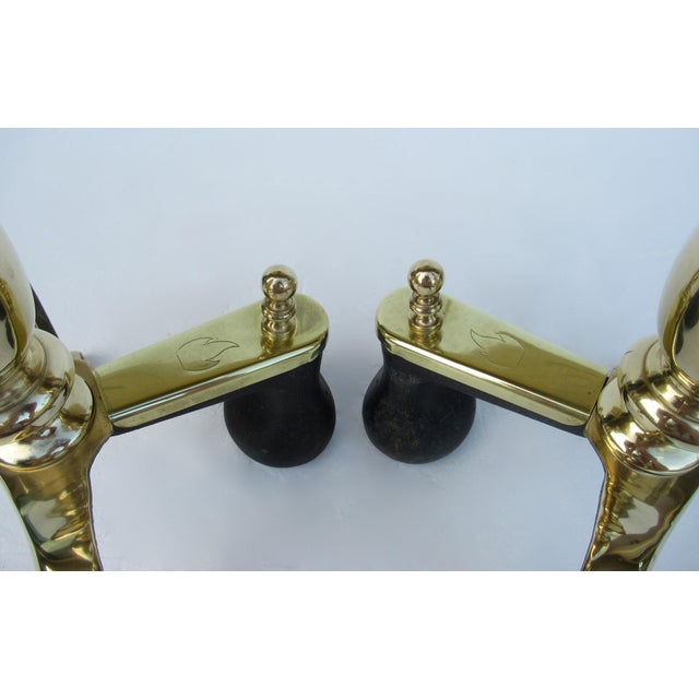 C1970s Vintage American Regency Brass Claw-Footed Andirons - a Pair For Sale - Image 10 of 13