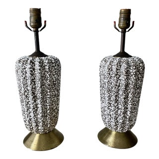 Mid 20th Century Speckled Salt Glaze Lamps - A Pair For Sale