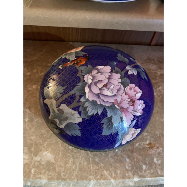 """Large """"Cloisonne"""" Enamel Bronze Bowl With Top For Sale - Image 9 of 10"""