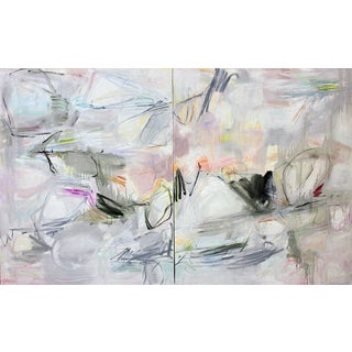 "Oversized Abstract Diptych by Trixie Pitts ""Colorado Calling"" 60""x96"" For Sale"