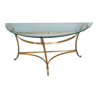 Mid 20th Century Brass Swan Neck Demilune Table For Sale