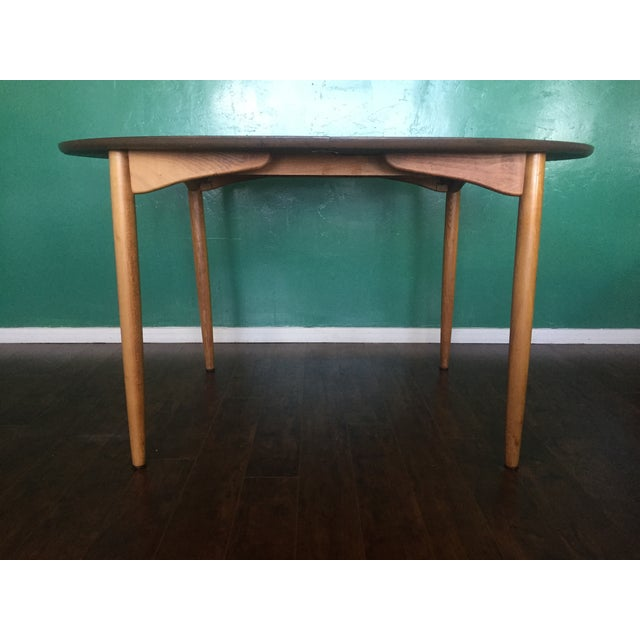Mid Century Modern Oval Table With Leaf - Image 5 of 11