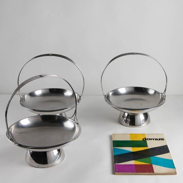 Set of Three Steel Baskets by Gio Ponti for Arthur Krupp, Milano For Sale - Image 6 of 6