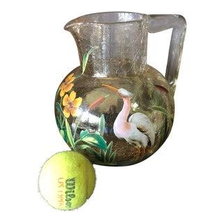 Antique Moser Bohemian Crackle Glass Cranes & Foliage Pitcher For Sale