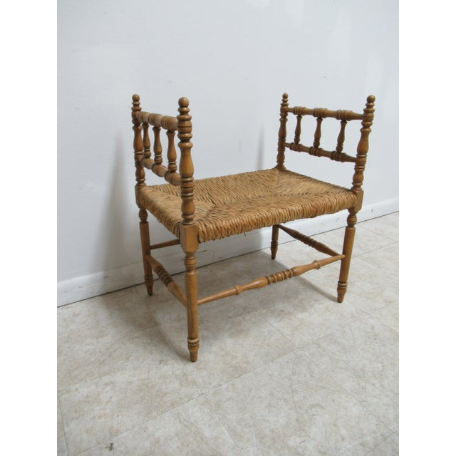 French 1990s Vintage Faux Bamboo French Regency U Bench Ottoman Vanity Seat Stool Rush Seat For Sale - Image 3 of 11