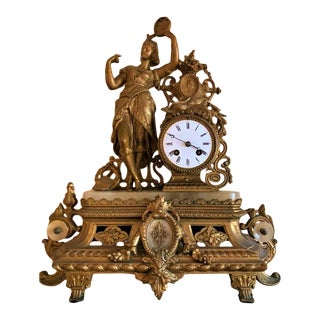"""19th Century Furderer, Jaegler & Co German """"Gypsy Woman With Tambourine"""" Mantle Clock For Sale"""