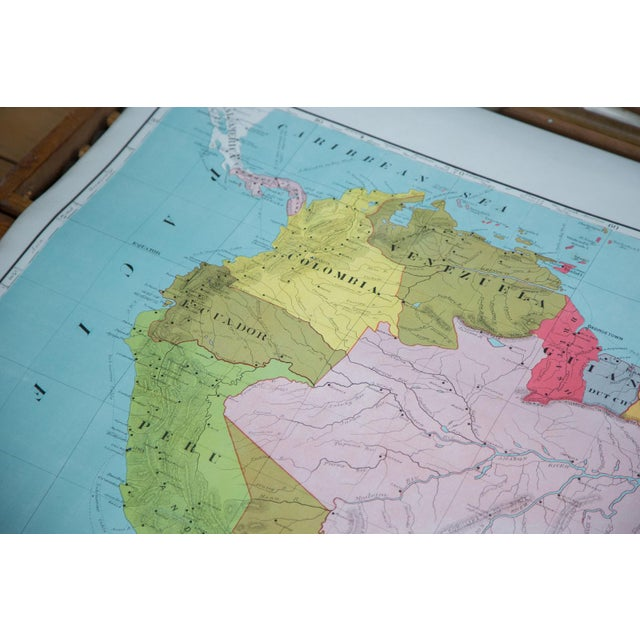 Paper Vintage Pull Down Map of South America For Sale - Image 7 of 9