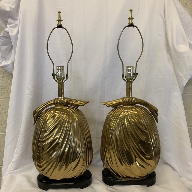 """Calling all glamour pusses! These are for you! Heavy brass """"sacks of gold"""" table lamps by Chapman Manufacturing Company...."""