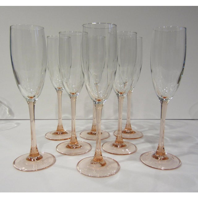 Pink French Pink Champagne Flutes - Set of 8 For Sale - Image 8 of 11
