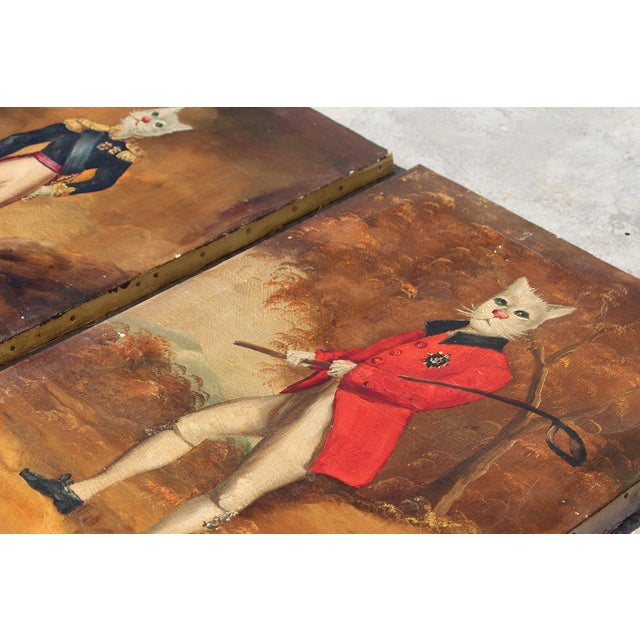 Orange 1900s French Singerie Style Portrait Oil Paintings of Cats in Military and Formal Dress - a Pair For Sale - Image 8 of 13