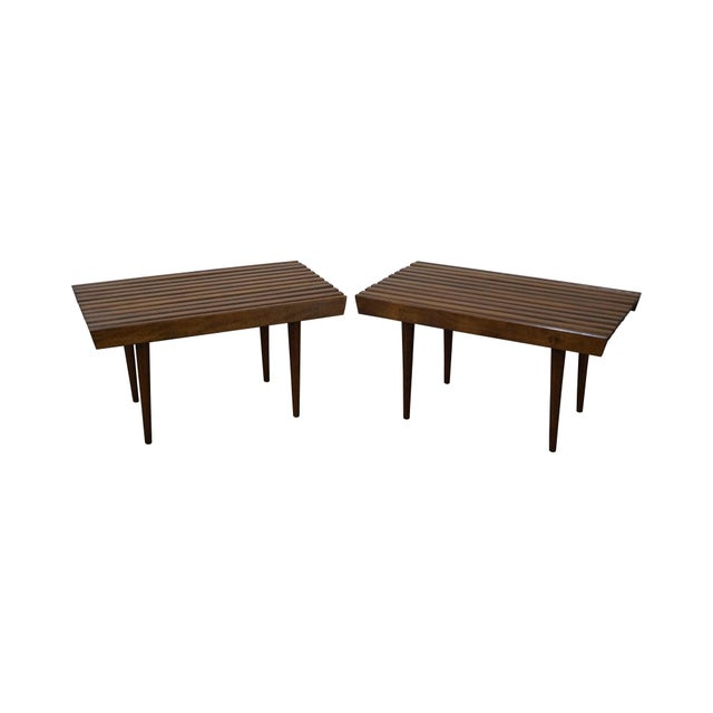 Mid-Century Modern Slat Tables / Benches - Pair - Image 1 of 10