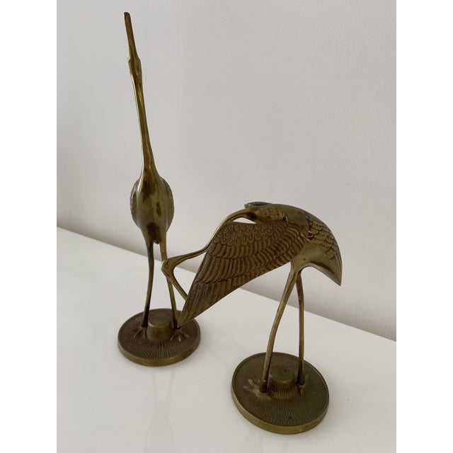 Brass Crane Figurines - a Pair For Sale - Image 9 of 10
