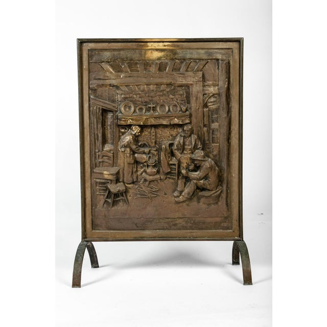 English 1900s Antique English Brass Fireplace Screen For Sale - Image 3 of 7