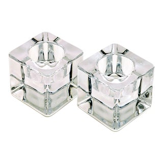 Modernist Orrefors Nordic Lights Ice Cube Votive Holders For Sale