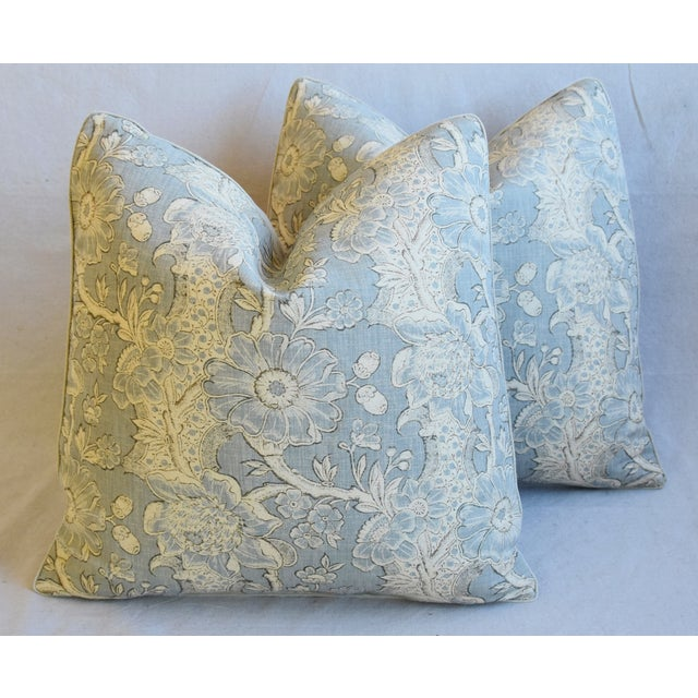 "Designer Hodsoll Camellia/Acorn Linen Feather/Down Pillows 21"" Square - Pair For Sale - Image 12 of 13"