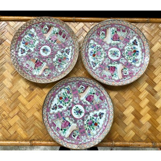 Large Chinese Rose Medallion Plates- Set of 3 Preview