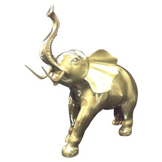 Monumental Mid Century Brass Charging Elephant