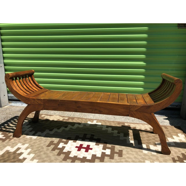 Early 19th Century Early 19th Century Antique Curved X-Framed Solid Teak Bench For Sale - Image 5 of 5