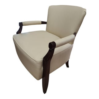 Henredon Furniture Barbara Barry Rolled Arm Walnut Flair Leather Lounge Chair For Sale