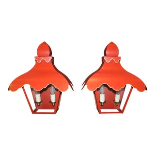 Red Lantern Sconces - A Pair