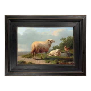 """Sheep in a Meadow Framed Oil Painting Reproduction Print on Canvas - 8"""" X 10"""" For Sale"""