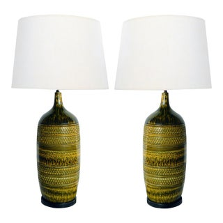 1960s Italian Large Geometrically Textured Drip Glaze Ceramic Lamps - a Pair For Sale