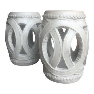 Cement Garden Stools - A Pair For Sale