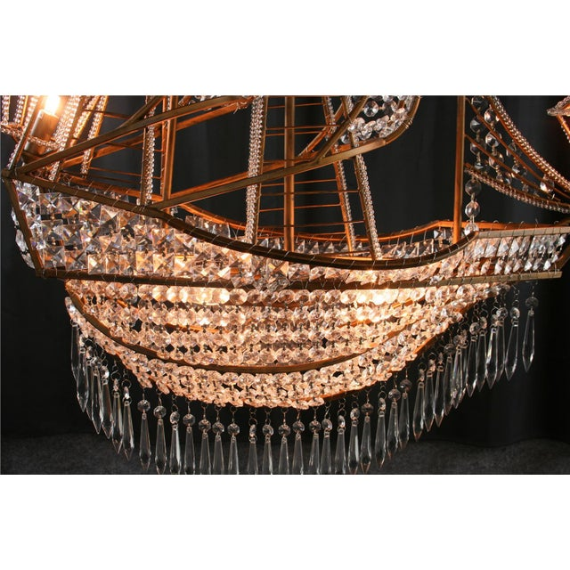 Gold New Large Sailing Ship Crystal Chandelier For Sale - Image 8 of 12