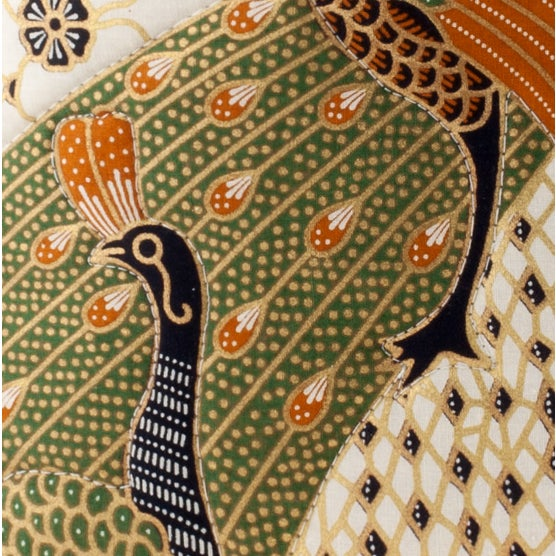 Quilted Green Peacock Batik Pillow - Image 2 of 2