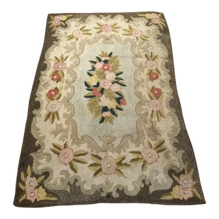1950s Vintage American Hooked Rug - 3′11″ × 5′9″ For Sale