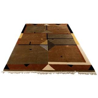 Vintage Geometric Wool Rug- 7′10″ × 10′ For Sale