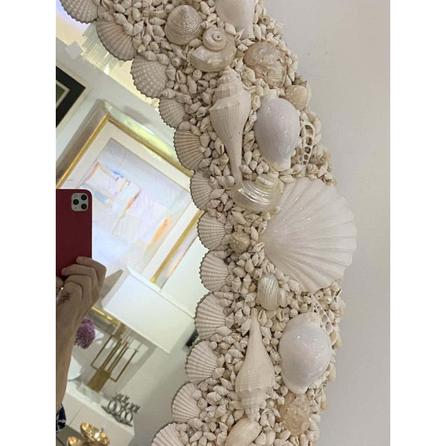 Glass White Seashell Encrusted Mirror bySnob Galeries For Sale - Image 7 of 13