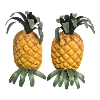 Metal Pineapple Golden Bookends - a Pair For Sale