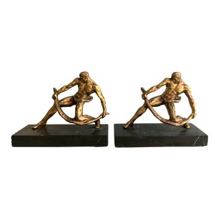Gilt Sculptural Male Muscular Bookends - a PAir For Sale