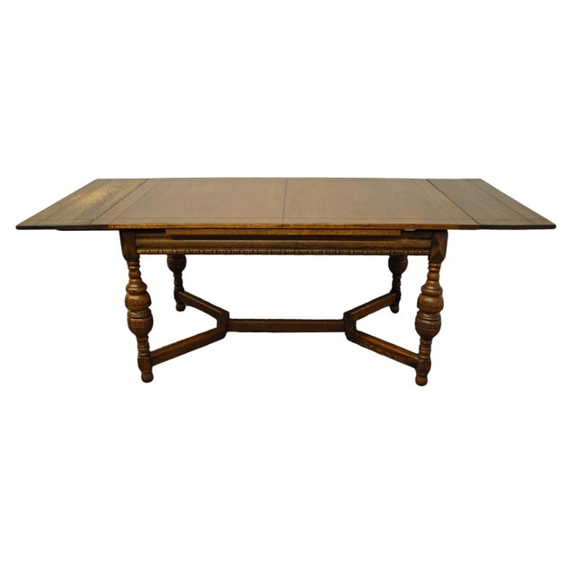 """Mid 20th Century Vintage Antique Oak English Revival Gothic Jacobean 84"""" Draw Leaf Dining Table For Sale - Image 5 of 11"""
