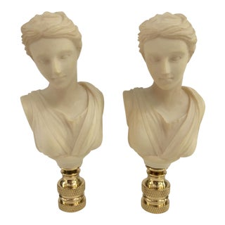 Neoclassical Bust Lamp Finials – a Pair