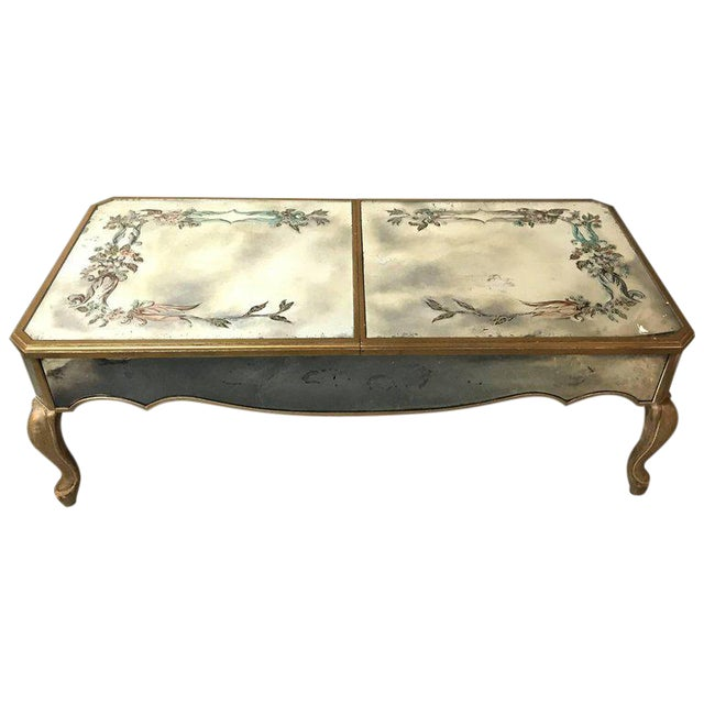 Hollywood Regency Italian Paint Decorated Sliding Mirror Top Coffee Low Table - Image 1 of 10