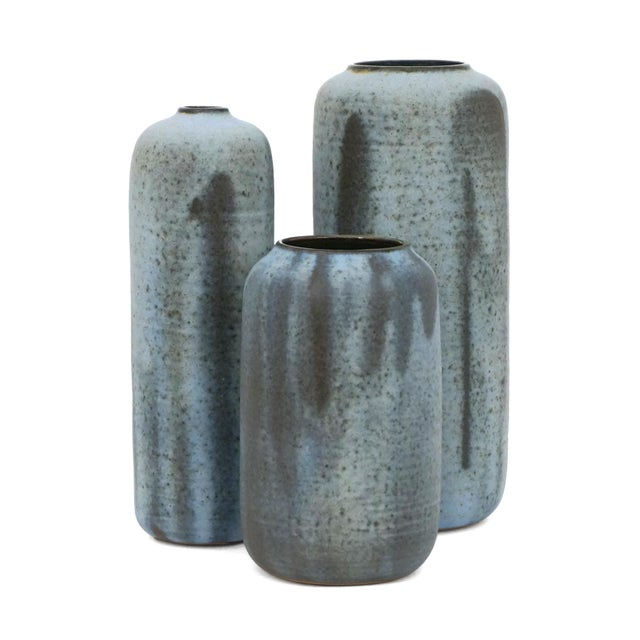 Contemporary Set of Three Matte Blue Stoneware Vases by Laetitia DiGioia For Sale - Image 3 of 3