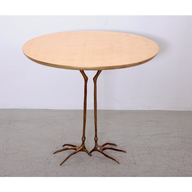 Early Bronze and Gold Leaf Wood Traccia Coffee Table by Meret Oppenheim For Sale - Image 6 of 6