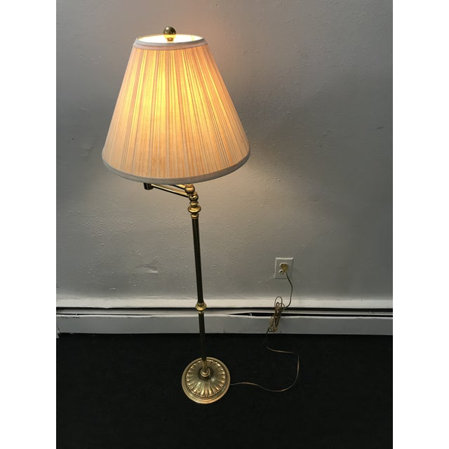 Vintage Brass Swing-Arm Lamp With Original Paper Shade by Remington For Sale - Image 11 of 13