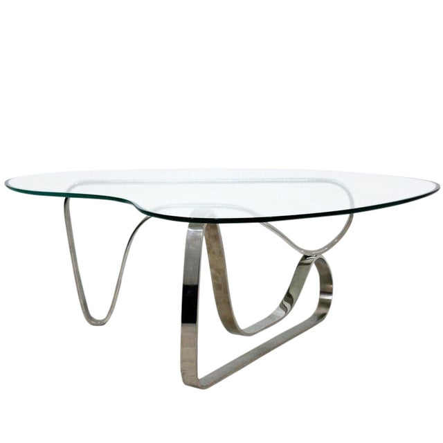 Mid-Century Modern Sculptural Chrome Kidney Glass Coffee Table Pace Era, 1970s For Sale