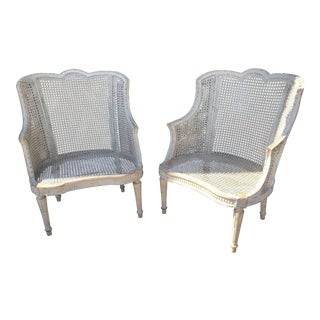 Vintage White Washed French Rattan Chairs - A Pair