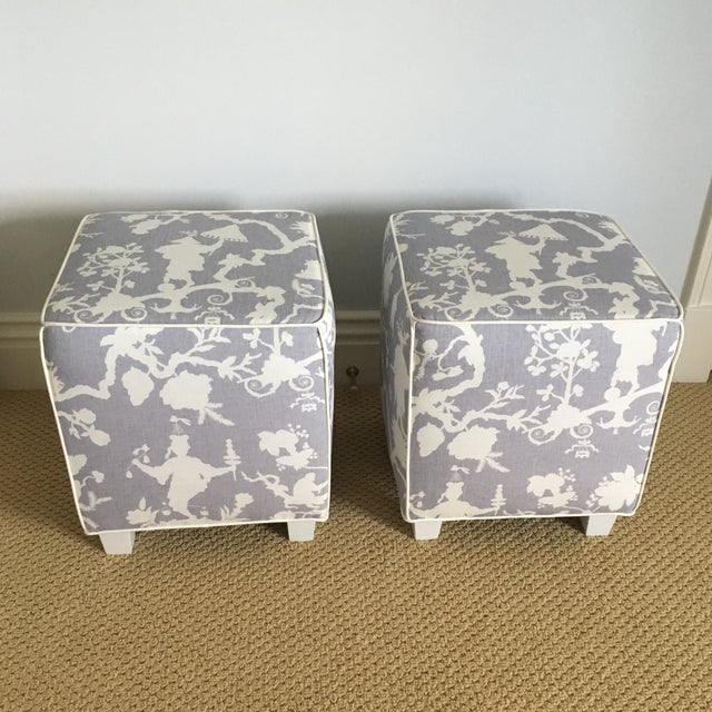 Beautiful set of cube ottomans covered in Schumacher's iconic Shantung Silhouette Print in the color Wisteria (Lavender)....