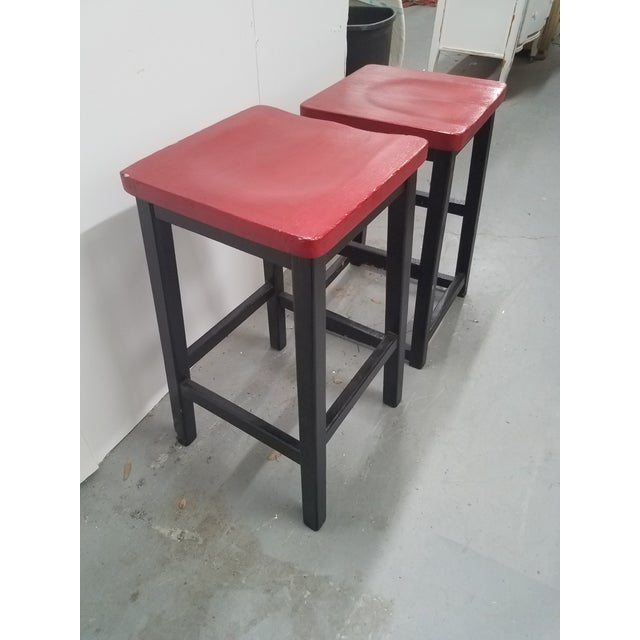 English Two Vintage English Wooden Stools With Red Tops For Sale - Image 3 of 13