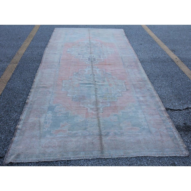 Vintage Turkish Oushak Hand Knotted Rug - 5'2 X 11'5 - Image 4 of 6