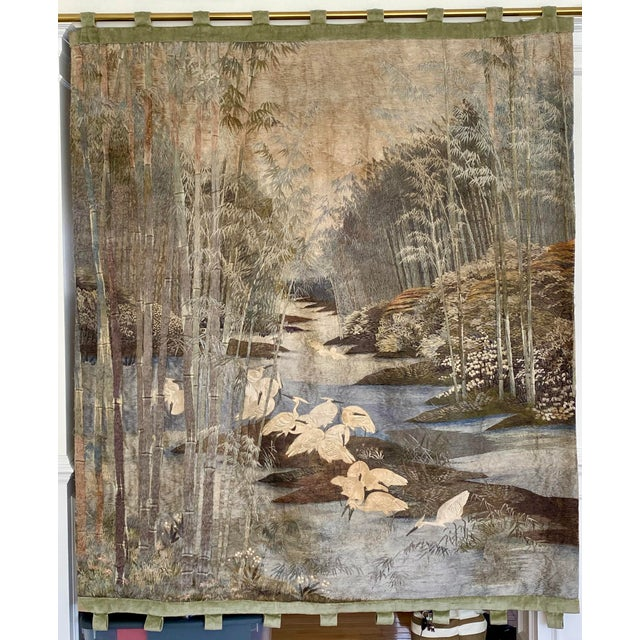 Antique Japanese Scenic Crane Bamboo Silk Hanging Wall Tapestry For Sale - Image 11 of 11