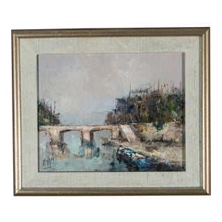 Impressionist Painting, Sunny Day at the Bridge For Sale